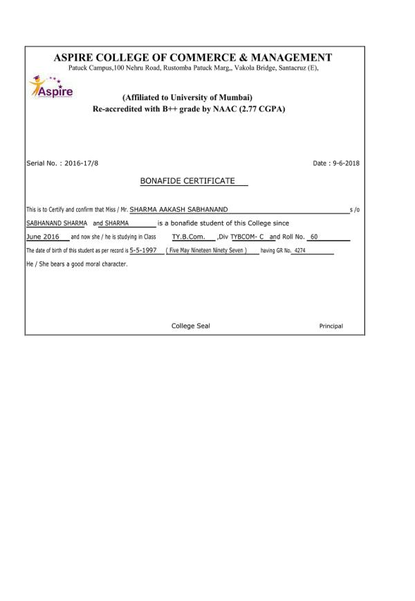 Bonafied Certificate